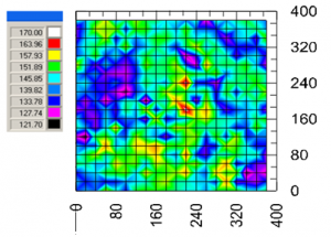 400 indentations across the surface of Ti6Al4V alloy reveal microstructure-modulus property correlations